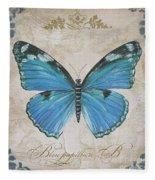 Bleu Papillon-b Fleece Blanket