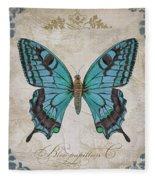 Bleu Papillon-c Fleece Blanket
