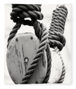 Block And Tackle Of Old Sailing Ship Fleece Blanket