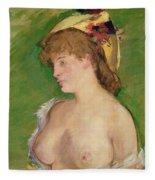 Blonde With Bare Breasts Fleece Blanket