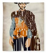 Blondie Poster From The Good The Bad And The Ugly Fleece Blanket by Inspirowl Design