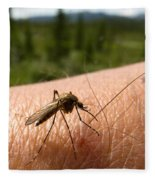 Blood Thirsty Mosquito On Human Arm Fleece Blanket