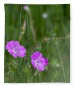 Bloody Cranesbill Wild Flowers Fleece Blanket