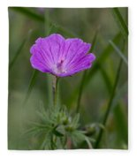 Bloody Geranium Wild Flower Fleece Blanket