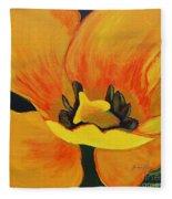 Bloomed Yellow Tulip Fleece Blanket