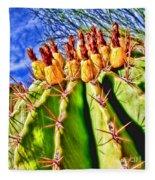 Blooming Barrel Cactus By Diana Sainz Fleece Blanket