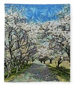 Blooming Cherry Tree Avenue Fleece Blanket