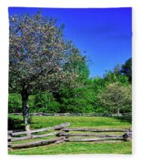 Blossom Trees In Farm, Davidson River Fleece Blanket