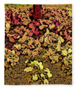 Blossoms And Tree In Yellow And Red Fleece Blanket