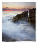 Blowing Rocks Sunrise Fleece Blanket