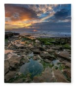 Blue And Gold Tidepools Fleece Blanket