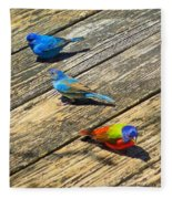 Blue And Indigo Buntings - Three Little Buntings Fleece Blanket