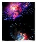Blue And Red Firework Disks Fleece Blanket