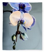 Blue And White Orchids Fleece Blanket