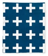 Blue And White Plus Sign Fleece Blanket