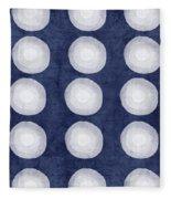 Blue And White Shibori Balls Fleece Blanket by Linda Woods