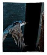 Blue And White Swallow Fleece Blanket