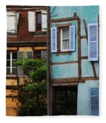 Blue And Yellow Buildings In La Petite Venise In Colmar France Fleece Blanket