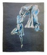 Blue Ballerina Dance Art Fleece Blanket