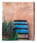 Blue Barrel With Adobe Fleece Blanket