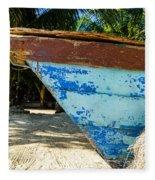 Blue Beached Canoe Fleece Blanket