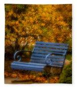 Blue Bench - Autumn - Deer Isle - Maine Fleece Blanket