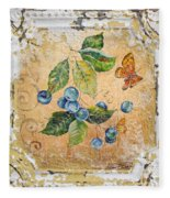 Blue Berries And Butterfly On Vintage Tin Fleece Blanket