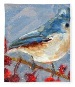 Blue Bird In Winter - Tuft Titmouse Modern Impressionist Art Fleece Blanket