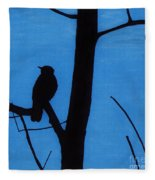 Blue - Silhouette - Bird Fleece Blanket