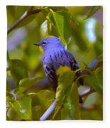 Blue Bird With A Yellow Throat Fleece Blanket