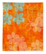 Blue Blossom On Orange Fleece Blanket
