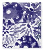 Blue Bouquet- Contemporary Abstract Floral Art Fleece Blanket