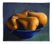 Blue Bowl With Four Pears Fleece Blanket