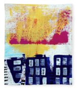 Blue Buildings Fleece Blanket