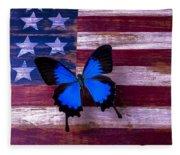 Blue Butterfly On American Flag Fleece Blanket