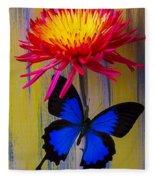 Blue Butterfly On Fire Mum Fleece Blanket