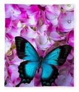 Blue Butterfly On Pink Hydrangea Fleece Blanket