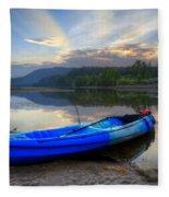 Blue Canoe At Sunset Fleece Blanket