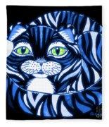 Blue Cat Green Eyes Fleece Blanket