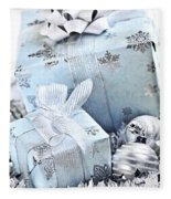 Blue Christmas Gift Boxes Fleece Blanket