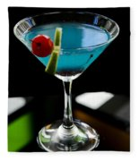 Blue Cocktail With Cherry And Lime Fleece Blanket