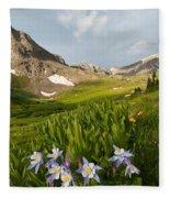 Handie's Peak And Blue Columbine On A Summer Morning Fleece Blanket