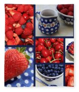 Blue Dishes And Fruit Collage Fleece Blanket