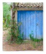 Blue Doors And Yellow Flowers Fleece Blanket