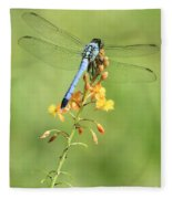 Blue Dragonfly On Yellow Flower Fleece Blanket
