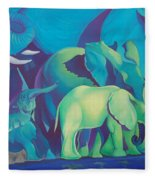 Blue Elephants Fleece Blanket