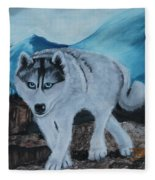 Blue Eyed Husky Fleece Blanket