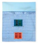 Blue Facade And Colorful Windows Fleece Blanket