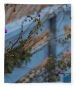 Blue Fence Purple Flowers Fleece Blanket