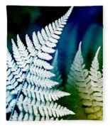 Blue Fern Leaf Art Fleece Blanket